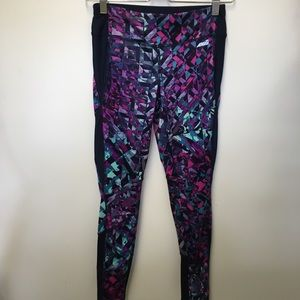 Avia fitted purple and black geometric print pant